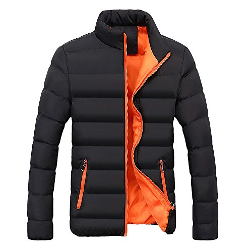 Xmiral Herren Jacke Mantel Warm Slim Fit Dicke Blase Lässige Parka Oberbekleidung (XL,Orange)