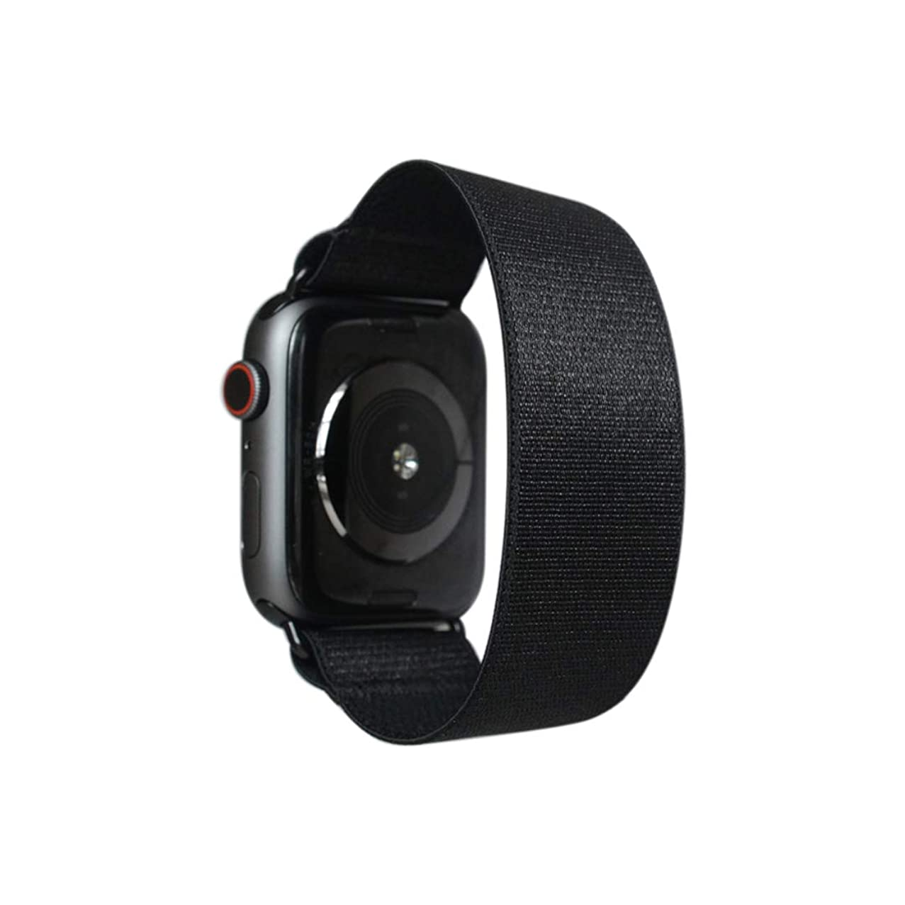 Tefeca Black Satin Elastic Compatible/Replacement Band for Apple Watch 38mm 40mm 42mm 44mm (Black Adapter for 38mm/40mm Apple Watch, Wrist Size : 6.0-6.4 inch (L2))