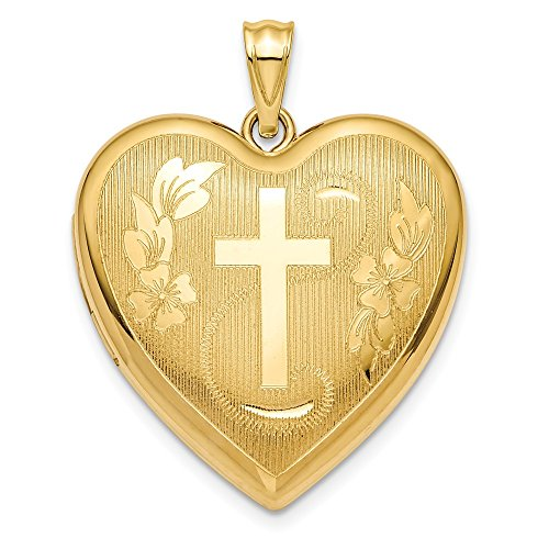 14k Yellow Gold 24mm Cross Religious Ash Holder Heart Photo Pendant Charm Locket Chain Necklace That Holds Pictures Inspiration Fine Jewelry For Women Gifts For Her