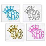 Glitter Princess Crown Monogram Vine Decal Initial Sticker For Girls Tumblers Car Windows
