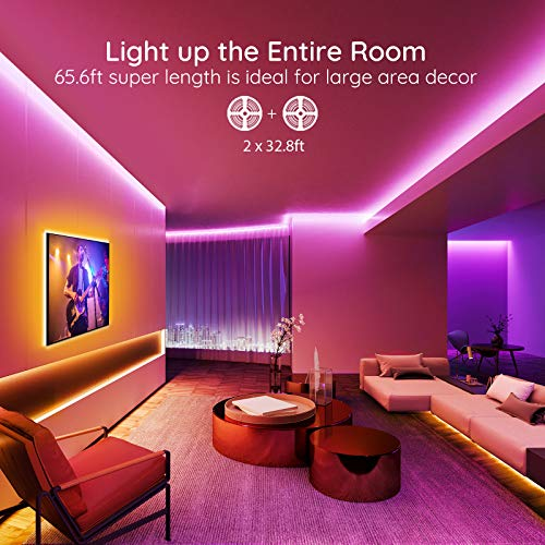 Govee 65.6 Feet Led Strip Lights Work with Alexa and Google Assistant RGB for Bedroom Kitchen 6