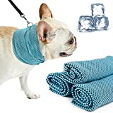 momok Dog Instant Cooling Bandana, Breathable Lightweight Pet Dogs Cats Chill Out Wrap Scarf Ice Collar for Summer, Fast Cooling Relief Neck Scarf with Leash Hole Blue (S)