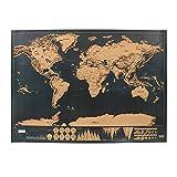 NNMNBV 1 pièce Édition Deluxe Carte du Monde à gratter Décoration de la Maison Journal de Voyage...