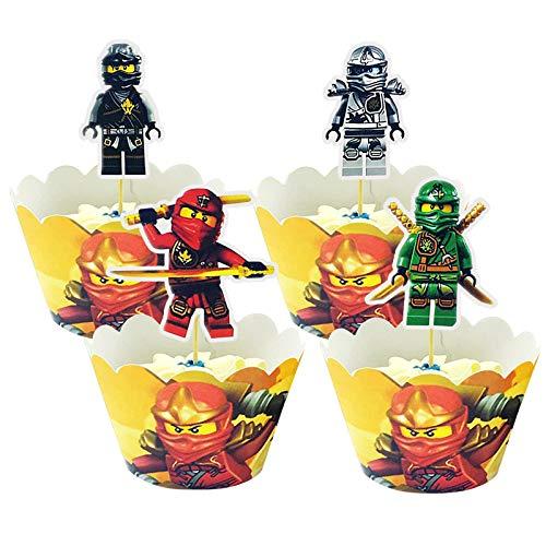 Yisscen Ninjago Party Kuchen Dekoratives Set, Ninjago Cupcake Wrappers Papier 48 Stücke Muffins Dessert Dekoration Verpackung Topper für Kinder Geburtstagsfeier liefert Weihnachts Dekorationen