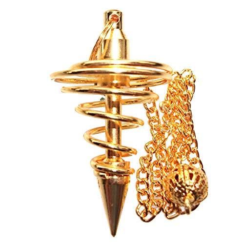 Péndulo Vortex para Radiestesia y Adivinacion Bañado en Oro