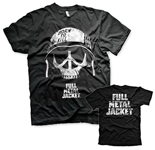 Full Metal Jacket Offizielles Lizenzprodukt Skull Herren T-Shirt (Schwarz), X-Large