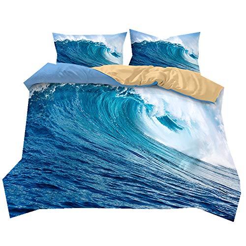 Stillshine Juego de sábanas Verano Azul Cielo Playa Resort Paisaje Suave y Transpirable Funda de edredón y Funda de Almohada Juego de Cama 100% poliéster, poliéster, Huge Wave, Doublé