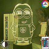 QAZQAZ Despicable Me Led Nachtlicht Farbwechsel Berührungssensor Nachtlicht für Kinder Kinder Schlafzimmer Dekor Little Minion 3D Lampe Nachttisch