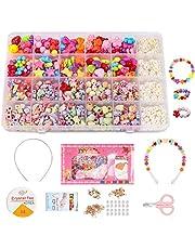 DIY Kralen Set voor Kinderen,500 Stks Kraal String Maken Set, DIY Sieraden ketting Armband Maken Kit,Kunst Ambacht & Sieraden Maken voor Kinderen voor Meisjes