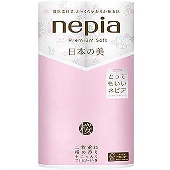 ネピア プレミアムソフト トイレットロール 12ロール ダブル (2枚重ね25m巻) 日本の美 桜の香り