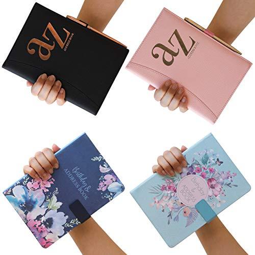 Geburtstags- und Adressbuch A bis Z, A5, Satin-Stoff, Adress- und Geburtstagsbuch, florales Design, mit Magnetverschluss, Blume, Marineblau