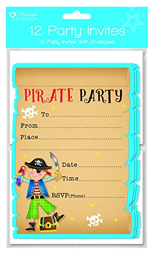 Pirate Party Children's Happy Birthday Party Invites & Envelopes Blue