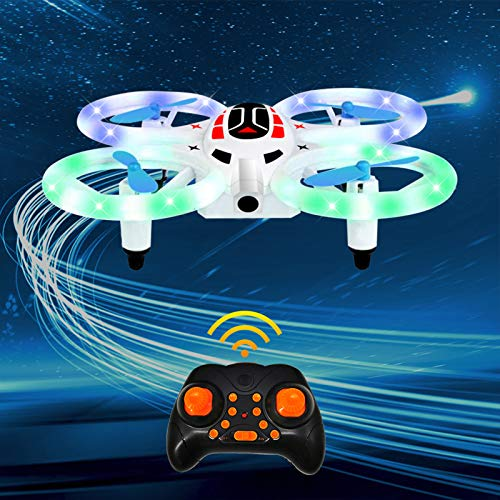 Shample Mini RC Drone for Kids & Beginners, Small LED RC Nano Quadcopter Helicopter Plane Toys with Auto Hovering, 3D Flip, Headless Mode, Remote Control and 2 Batteries for Boys and Girls
