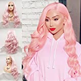 Pink Lace Front Wigs for Women Long Wavy Synthetic Hair Wig Soft Lace Wig with Natural Hairline Glueless Heat Resistant Fiber Hair for Women (Pastel Pink)