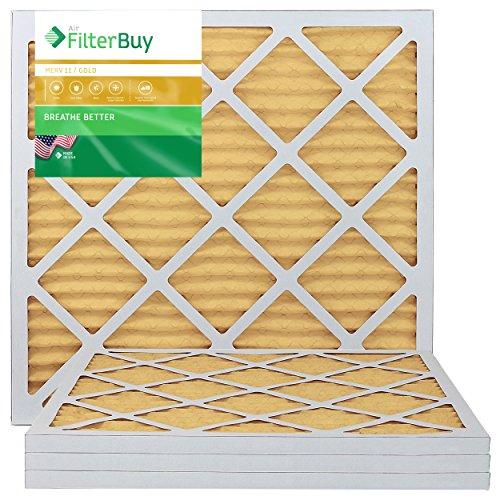 FilterBuy 20x20x1 Air Filter MERV 11, Pleated HVAC AC Furnace Filters (4-Pack, Gold)