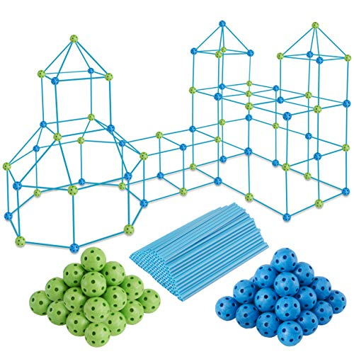PLAYVIBE 150 PCS Kids Fort Building Kit - Fort Builder | Fort Kit | Crazy Kids Fort Building Set | Build A Fort | Air Fort | Indoor / Outdoor Kids Toys