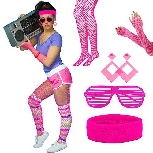 LOPOTIN 5TLG 80er Jahre Kostüm Zubehör 90er Stirnband Neon Damen Outfit 90er Kleidung Accessoires 1980s Fluoreszierendes Rosa Ohrringe Netzhandschuhe für Damen Herren Mädchen Jungen Karneval Fasching