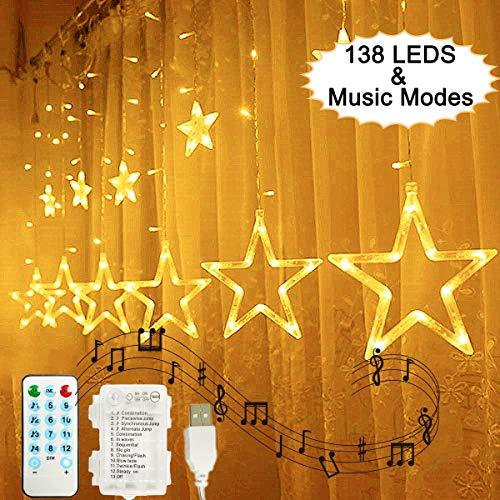 138 LEDs Luces de Cortina de Estrella, Hezbjiti Estrella Guirnalda de Luces de Cadena Estrelladas con Función de...