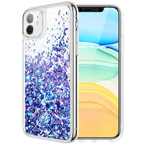 Caka Glitter Case for iPhone 11 Glitter Case Liquid Bling Sparkle Luxury Fashion Flowing Floating Shining Quicksand Soft TPU Clear Women Girls Case for iPhone 11 (6.1 inch)(Blue Purple)