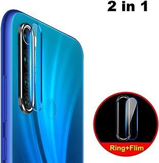 NOKOER Protector de Lente de Cámara para Xiaomi Redmi Note 8 [2 en 1] Anillo Protector Metálico para la Cámara + Película Protectora para la Cámara Lente de la Cámara de Protección - Negro