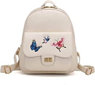 Women Backpack Butterfly Embroidery Zipper Flap Teenage Girls Pu Leather Backpack(Beige,23 * 11 * 28cm)