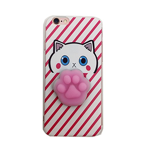 Cover iPhone SE, Squishy 3D Animal Animale Cat Gatto iPhone 5s Case, Cute Stress Silicone Fun kawaii Case Cover Custodia for iPhone 5s / iPhone 5 /SE (Color-H)