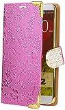 LG G2   iCues rosa de flor de cromo   [Protector de pantalla, incluyendo] Rhinestone floral Glitter lujo de Bling señoras de las mujeres niñas Chromebook con bisagras bolsillo del teléfono celular protectora de la manga para abrir caso del tirón de folletos de Cubierta Funda Carcasa Bolsa Cover Case