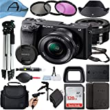 Sony Intl Alpha a6400 Mirrorless Digital Camera 24.2MP Sensor with 16-50mm Lens, SanDisk 128GB Memory Card, Case, Filters, Tripod and A-Cell Accessory Bundle (Black)