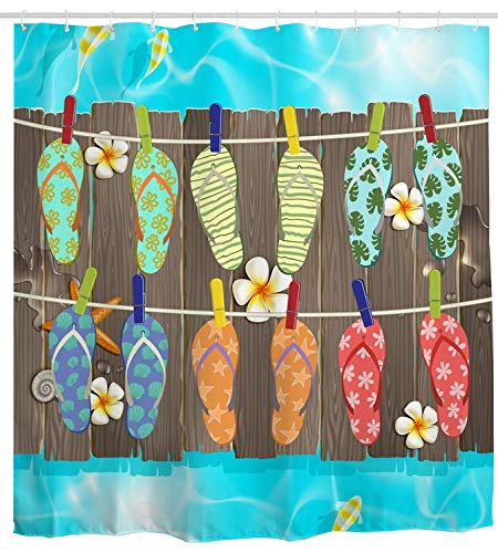 Summer Shower Curtain Funny, Flip Flop Sliper on Wooden Bridges Waterproof Bathroom Curtain Bath Curtain Bathroom Accessories with Hooks, 72W by 72H Inch