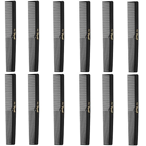 "Barber Cleopatra 420 7"" Flat Square Back Hair Comb (12 Pack) 12 x SB-C420-BLK"