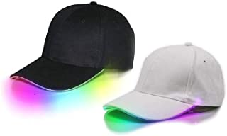 قبعتان LED مضيئة LED من قطعتين من القماش الرياضي باللون الأسود من قماش أسود للسفر إضاءة كشاف كشاف كشاف إضاءة بيسبول جولف هيب هوب الرياضية، قبعة فلاش الأداء المسرحي للرجال والنساء متعددة الألوان