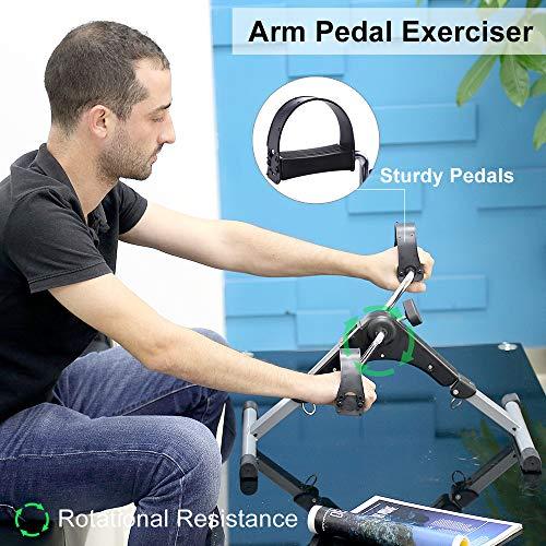 AGM Mini Vélo d'Appartement Pédalier Pliable avec Résistance Réglable Ecran LCD Appareil Fitness pour Entraîner Les Jambes Bras Pratique Léger Facile à Ranger pour Homme Femme