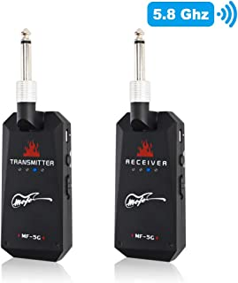 Mefe 5.8GHz Wireless Guitar System Rechargeable Audio Guitar System Wireless Digital Transmitter Receiver Set for Electric Guitar Bass (Black)