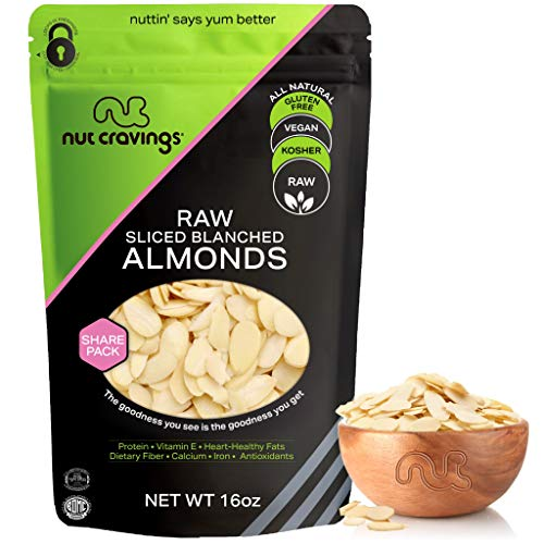 Blanched Sliced Almonds - Raw, Superior to Organic (16oz - 1 Pound) Packed Fresh in Resealable Bag - Nut Trail Mix Snack - Healthy Protein Food, All Natural, Keto Friendly, Vegan, Kosher