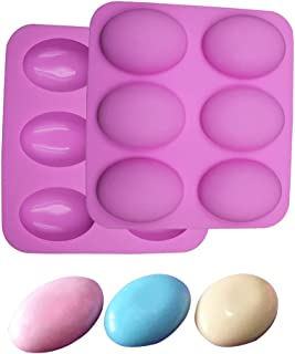 BAKER DEPOT Silicone Mold for Handmade Soap 6 Cavity Goose Egg Design Fat Bath Bombs Pink Color Set of 2