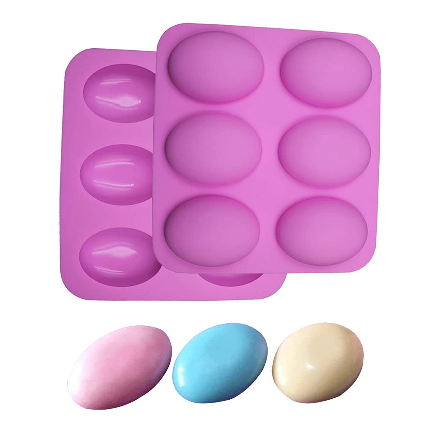 BAKER DEPOT Silicone Mold for Handmade Soap 6 Cavity Goose Egg Design Pink Color Set of 2
