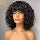 Short Curly Wig with Bangs Human Hair For Women Scalp Base Top Full Machine Made Wig With Bangs Remy Brazilian Curly Wig 150% Density Natural Color 12 Inch