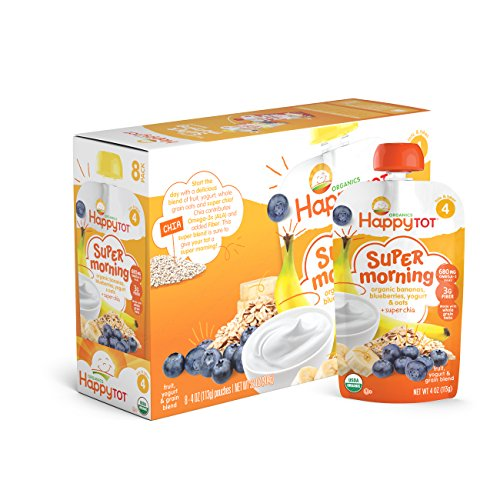 Happy Tot Organic Stage 4 Super Morning Bananas Blueberries Yogurt & Oats + Super Chia, 4 Ounce Pouch (Pack of 8) Baby/Toddler Food Breakfast Pouch, Yogurt Fruit & Oats