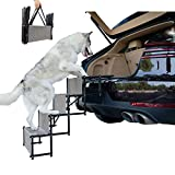 maxpama Premium Nonslip Dog Car 4 Steps for SUV, Trucks,Couch and High Beds - Durable Metal Frame Pet Stairs Support up to 150 Lbs - Lightweight Folding Pet Ladder Ramp for Indoor Outdoor Use,Grey