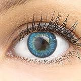 GLAMLENS Lenti a contatto colorate Fresh Blue - azzurre - mensili - con porta lenti a contatto -blu naturali in silicone idrogel - 2 pezzi - DIA 14.5 - senza correzione 0.00 diottrie lente a contatto…