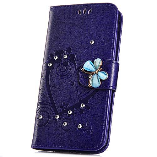 JAWSEU Compatible avec Samsung Galaxy A20e Coque Portefeuille PU Étui Cuir à Rabat Magnétique Coeur d'amour Bling Glitter Brillant Papillon Fleur Diamant Strass Leather Flip Wallet Case,violet