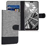 kwmobile Hülle kompatibel mit Oppo F7 - Kunstleder Wallet Hülle mit Kartenfächern Stand in Grau Schwarz
