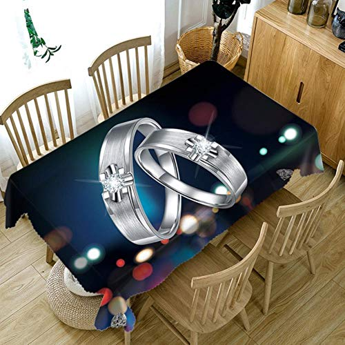 TopinG Thicken Cotton Tablecloth 3D Billiards and Lovers Ring Washable Cloth Rectangular and Round Table Cloth Accept Your Photo-B,W 130*H 180cm