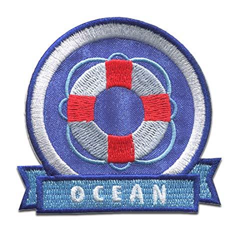 neumático salvavidas del océano Brave Coast - Parches termoadhesivos bordados aplique para ropa, tamaño: 6,6 x 6,1 cm
