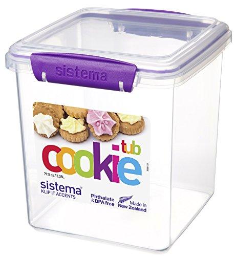 Sistema Boîte à Biscuits en polypropylène avec Joints et Fermetures Vert Citron/Bleu océan/Violet ou Blanc 2,35 l