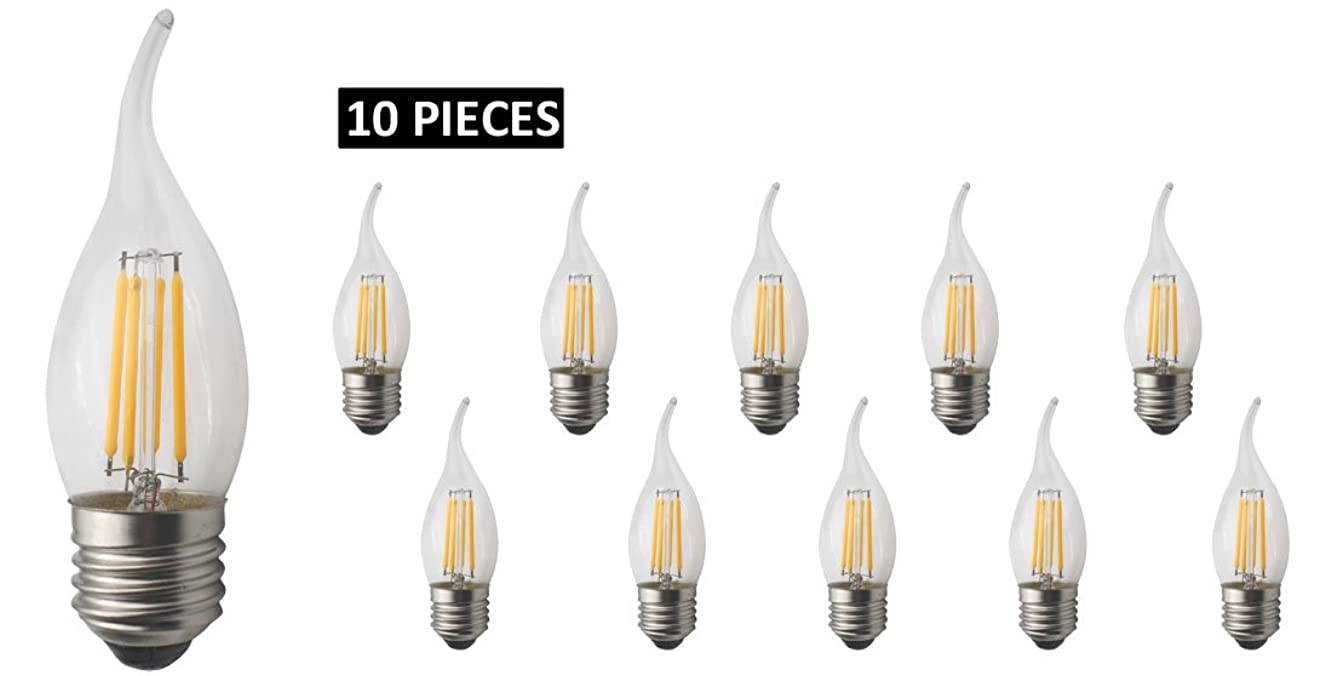 JCKing 10-Pack AC 110-130V E26 LED Dimmable Filament Vintage Flame Tip Light Bulb, 4W LED Flame Tip Bulbs, 40W Incandescent Bulbs Replacement, SES Candle Light Bulb for Chandelier Warm White