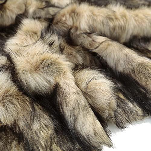 TOLKO 50cm Wolf Kunstfell | kuschelig weiches Fellimitat mit 5cm Florhöhe | Teddy Plüschstoff Webpelz | zum Nähen, Dekorieren und Basteln | Meterware (Iberischer Wolf)