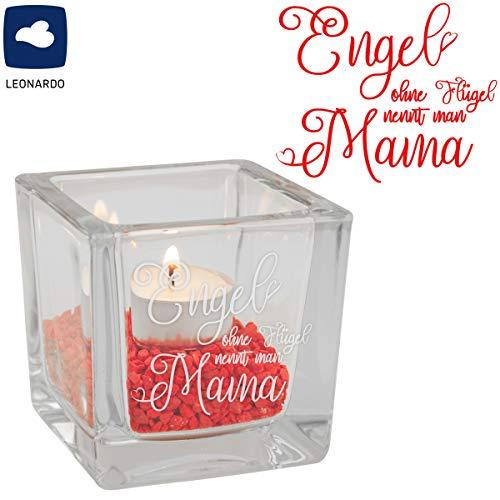 Teelicht Engel ohne Flügel nennt man Mama (Cube, klar): Kerzenhalter graviert für Mütter – Teelichthalter Blau, Rot, Lila, Grau, Klar von Leonardo – Glas Windlicht zum Muttertag I Muttertagsgeschenk