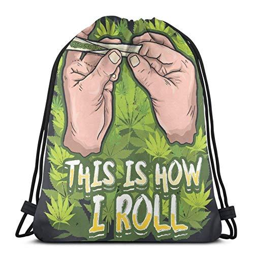 asdew987 Drawstring Bags This Is How I Roll Unisex Drawstring Backpack Sports Bag Rope Bag Big Bag Drawstring Tote Bag Gym Backpack In Bulk