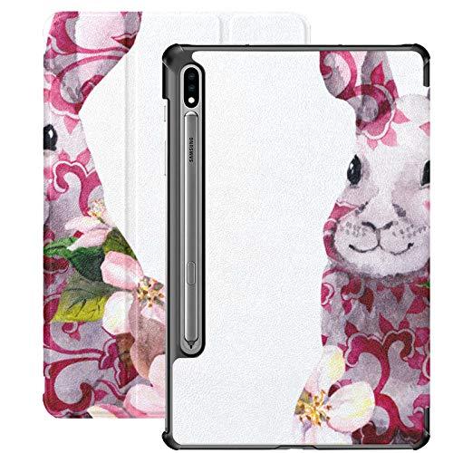 Galaxy Tablet S7 Plus Funda de 12,4 Pulgadas 2020 con Soporte para bolígrafo S, Flores de Conejo y Luna Adorno Chino Funda Protectora Delgada con Soporte para Samsung